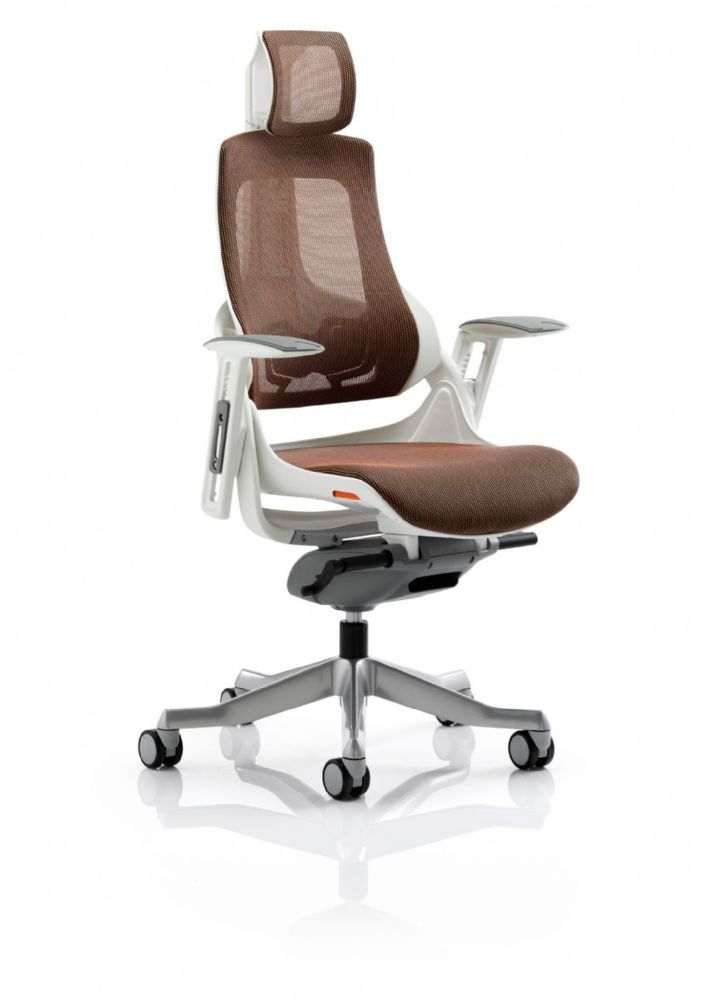 Zure Executive Task Chair Orthopaedic Designed Office Headrest Seat & Back in Mandarin Mesh